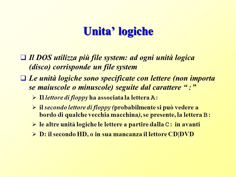 Unita logiche Il DOS utilizza più file system: ad ogni unità logica (disco) corrisponde un file system Le unità logiche sono specificate con lettere (non importa se maiuscole o minuscole) seguite dal carattere : Il lettore di floppy ha associata la lettera A: il secondo lettore di floppy (probabilmente si può vedere a bordo di qualche vecchia macchina), se presente, la lettera B: le altre unità logiche le lettere a partire dalla C: in avanti D: il secondo HD, o in sua mancanza il lettore CD|DVD