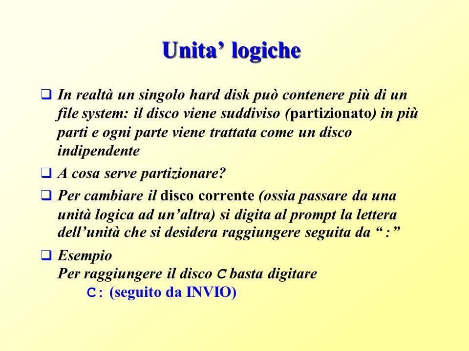 Unita logiche In realtà un singolo hard disk può contenere più di un file system: il disco viene suddiviso (partizionato) in più parti e ogni parte viene trattata come un disco indipendente A cosa serve partizionare.