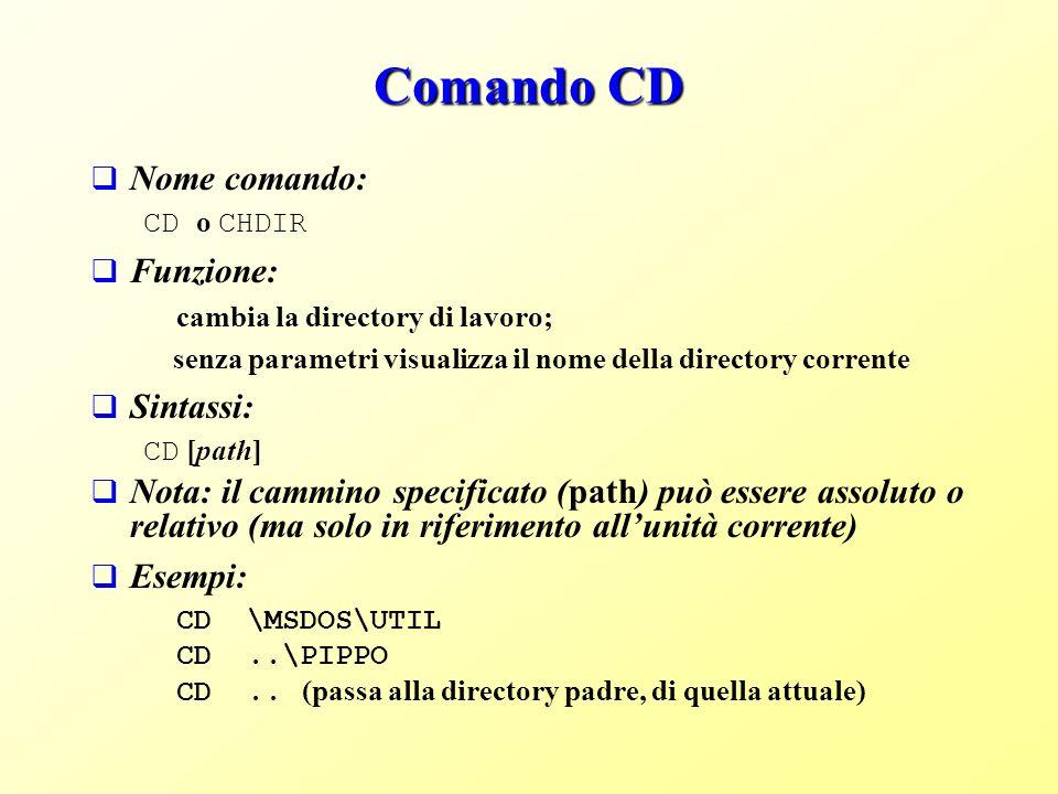 Comando CD Nome comando: CD o CHDIR Funzione: cambia la directory di lavoro; senza parametri visualizza il nome della directory corrente Sintassi: CD [path] Nota: il cammino specificato (path) può essere assoluto o relativo (ma solo in riferimento allunità corrente) Esempi: CD \MSDOS\UTIL CD..\PIPPO CD..