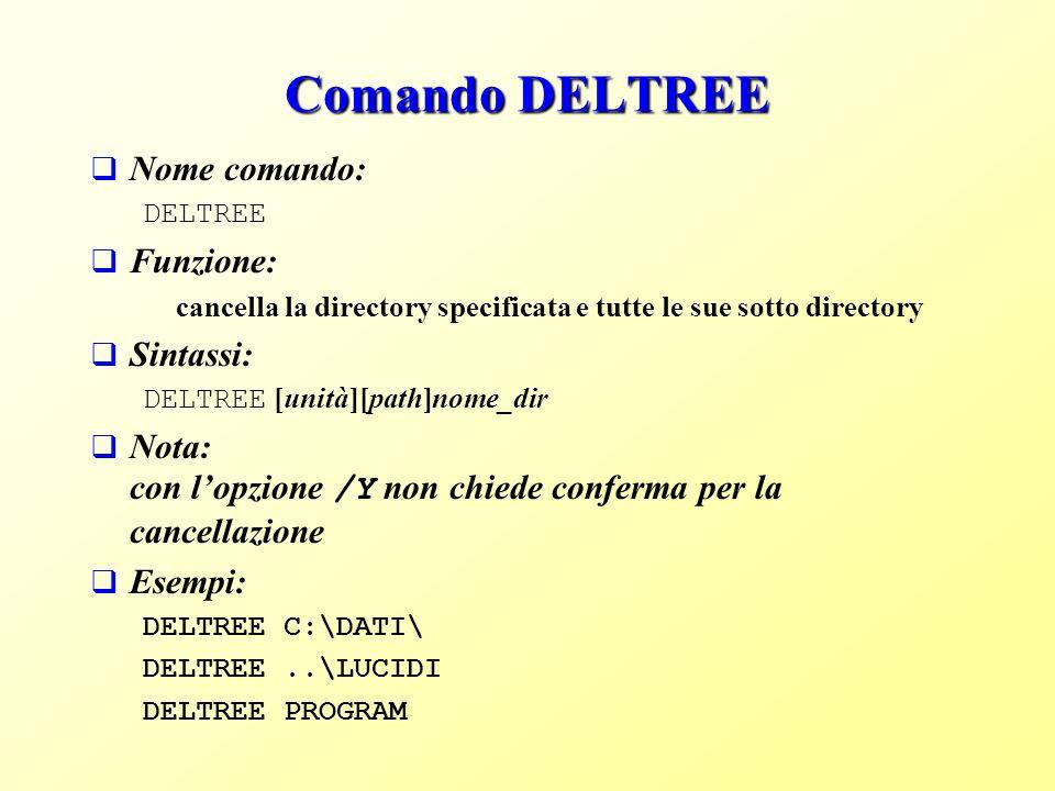 Comando DELTREE Nome comando: DELTREE Funzione: cancella la directory specificata e tutte le sue sotto directory Sintassi: DELTREE [unità][path]nome_dir Nota: con lopzione /Y non chiede conferma per la cancellazione Esempi: DELTREE C:\DATI\ DELTREE..\LUCIDI DELTREE PROGRAM