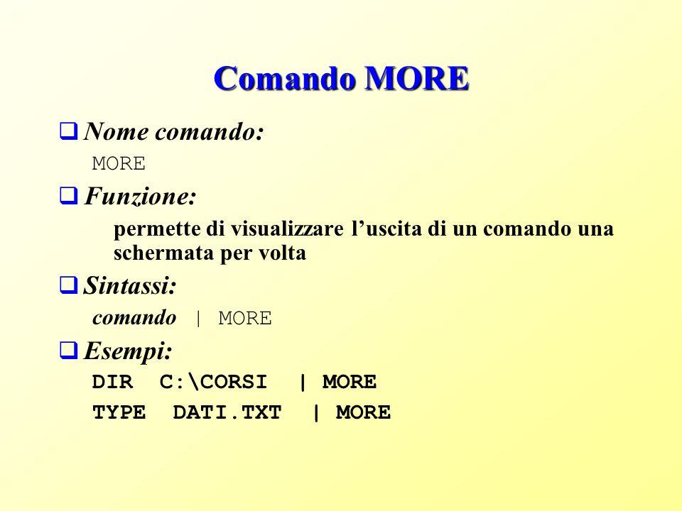 Comando MORE Nome comando: MORE Funzione: permette di visualizzare luscita di un comando una schermata per volta Sintassi: comando | MORE Esempi: DIR C:\CORSI | MORE TYPE DATI.TXT | MORE
