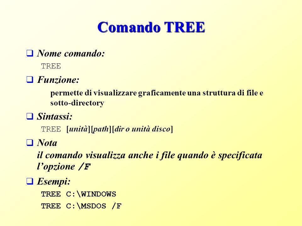 Comando TREE Nome comando: TREE Funzione: permette di visualizzare graficamente una struttura di file e sotto-directory Sintassi: TREE [unità][path][dir o unità disco] Nota il comando visualizza anche i file quando è specificata lopzione /F Esempi: TREE C:\WINDOWS TREE C:\MSDOS /F