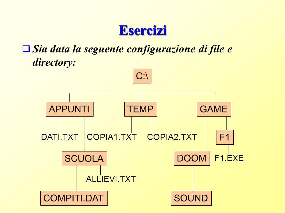 Esercizi Sia data la seguente configurazione di file e directory: C:\ APPUNTI DATI.TXT SCUOLA ALLIEVI.TXT COMPITI.DAT GAME F1 F1.EXE DOOM SOUND TEMP COPIA2.TXTCOPIA1.TXT
