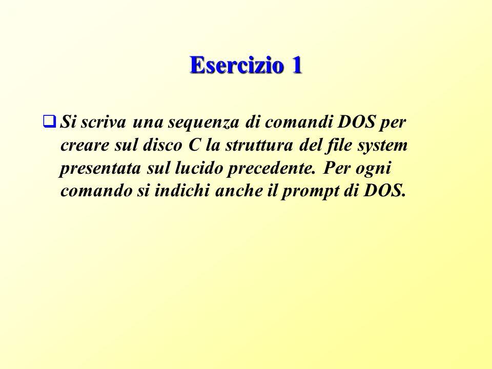 Esercizio 1 Si scriva una sequenza di comandi DOS per creare sul disco C la struttura del file system presentata sul lucido precedente.