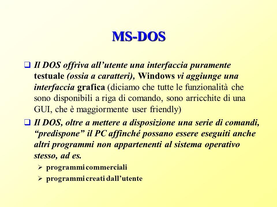 MS-DOS Il DOS offriva allutente una interfaccia puramente testuale (ossia a caratteri), Windows vi aggiunge una interfaccia grafica (diciamo che tutte le funzionalità che sono disponibili a riga di comando, sono arricchite di una GUI, che è maggiormente user friendly) Il DOS, oltre a mettere a disposizione una serie di comandi, predispone il PC affinché possano essere eseguiti anche altri programmi non appartenenti al sistema operativo stesso, ad es.