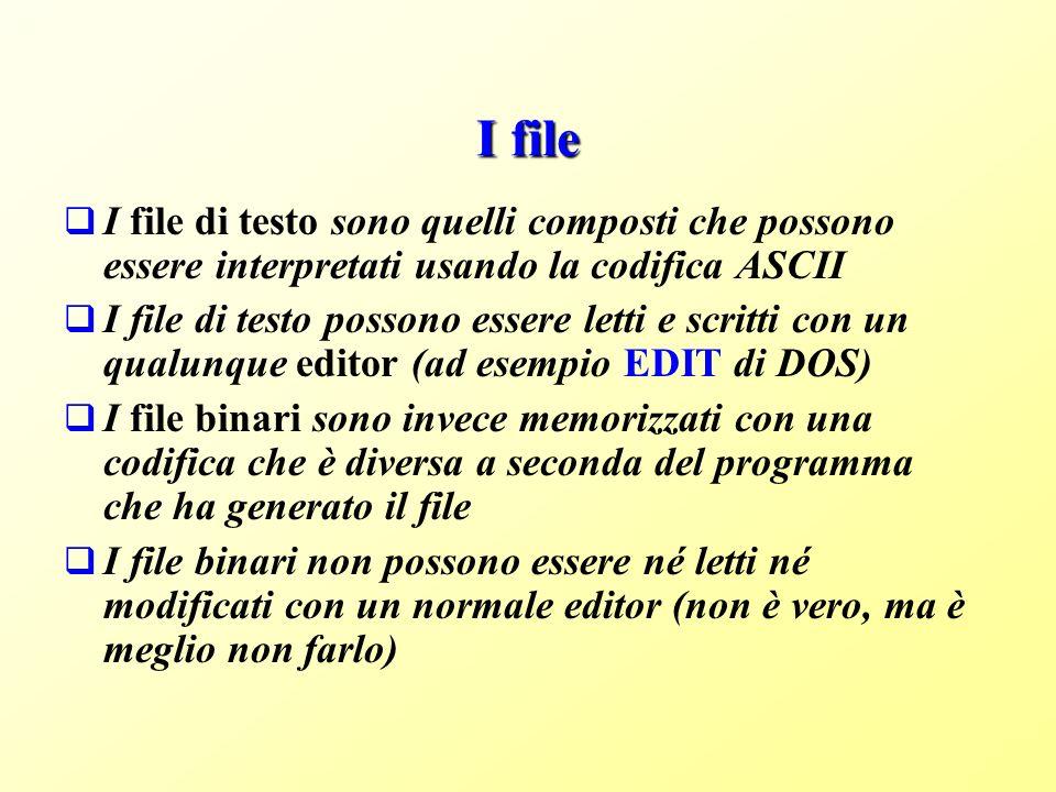 I file I file di testo sono quelli composti che possono essere interpretati usando la codifica ASCII I file di testo possono essere letti e scritti con un qualunque editor (ad esempio EDIT di DOS) I file binari sono invece memorizzati con una codifica che è diversa a seconda del programma che ha generato il file I file binari non possono essere né letti né modificati con un normale editor (non è vero, ma è meglio non farlo)