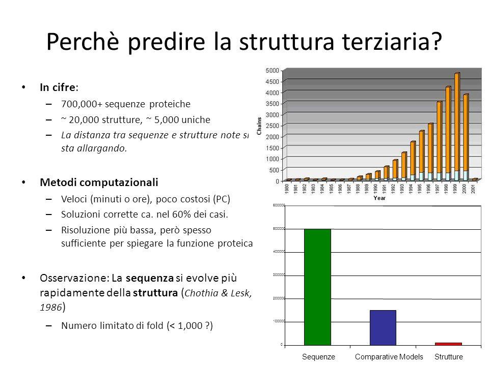 Perchè predire la struttura terziaria? In cifre: – 700,000+ sequenze proteiche – ~ 20,000 strutture, ~ 5,000 uniche – La distanza tra sequenze e strut