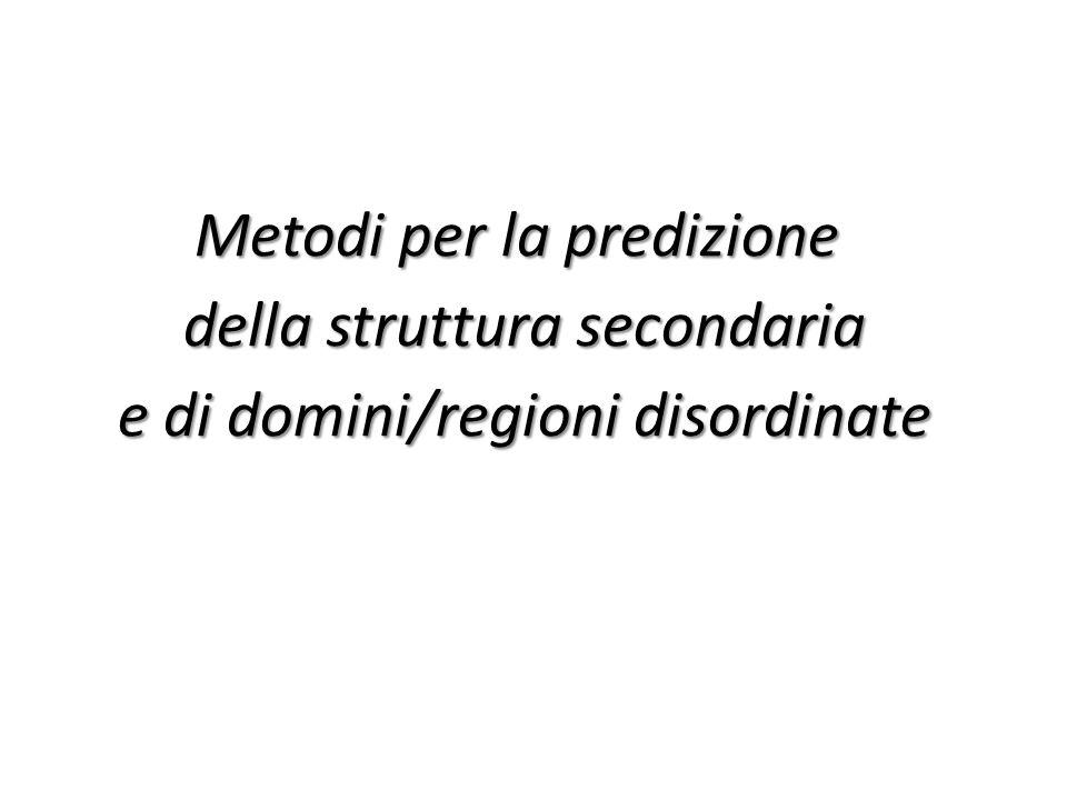 Metodi per la predizione della struttura secondaria e di domini/regioni disordinate