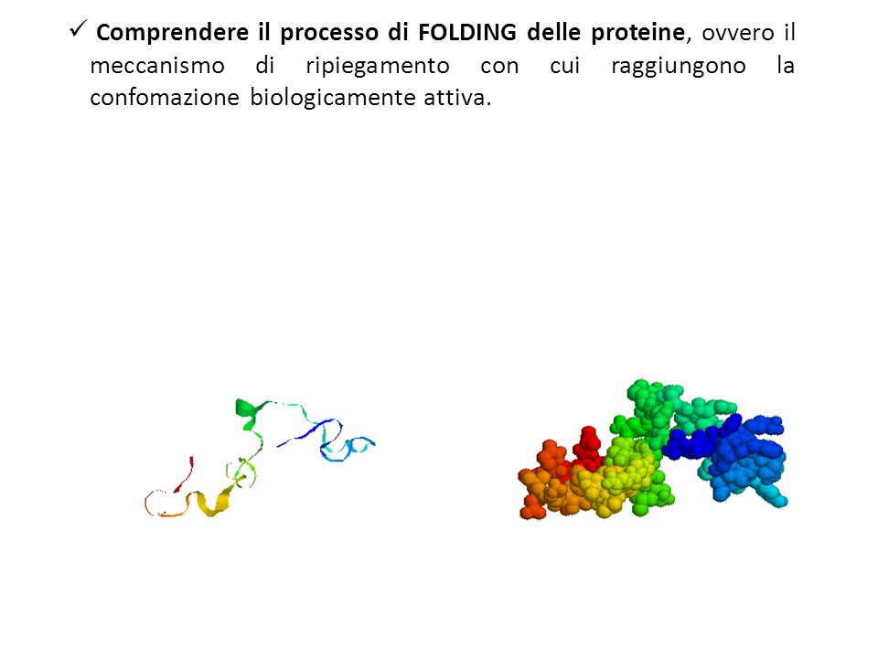 Modello di folding su cui si basa Rosetta: Local sequence fragments rapidly alternate between different possible local structures, and folding occurs when the conformations and relative orientations of these local segments combine to form low energy global structures E UN PROBLEMA DI CAMPIONAMENTO CONFORMAZIONALE