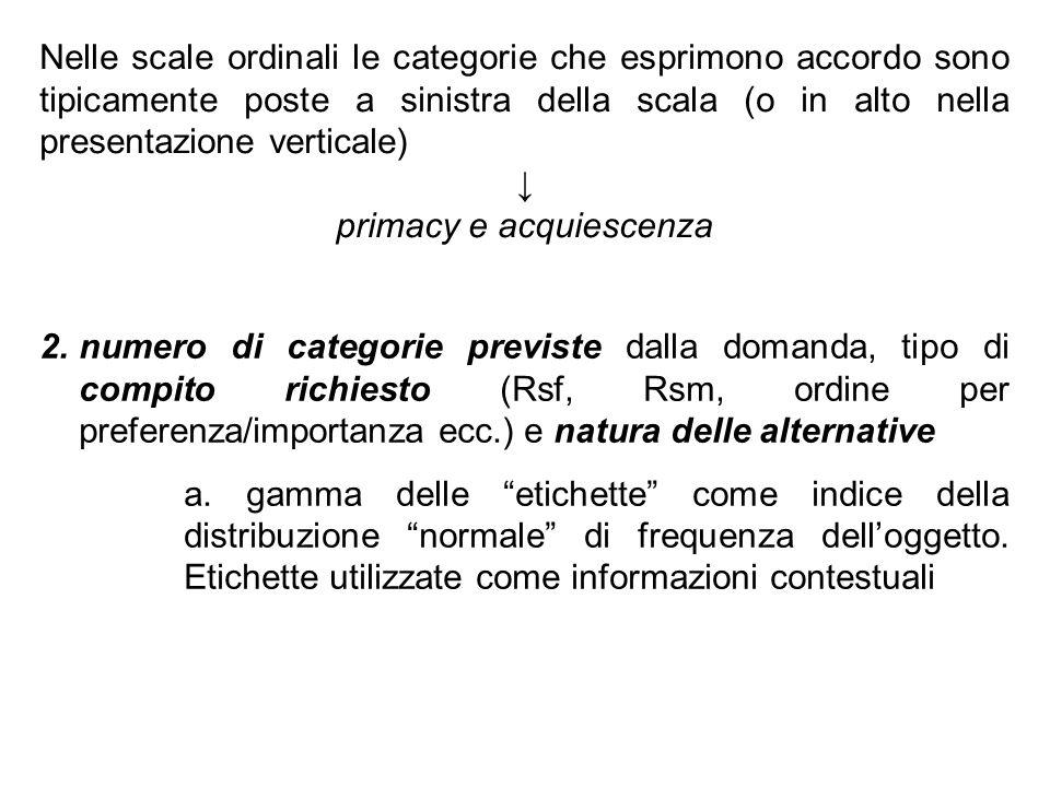 Nelle scale ordinali le categorie che esprimono accordo sono tipicamente poste a sinistra della scala (o in alto nella presentazione verticale) primac