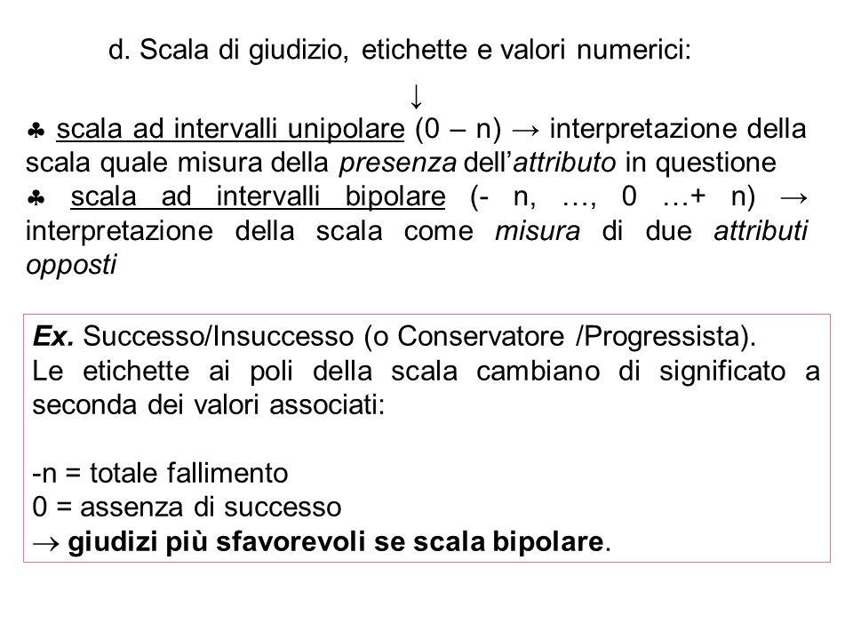 d. Scala di giudizio, etichette e valori numerici: scala ad intervalli unipolare (0 – n) interpretazione della scala quale misura della presenza della