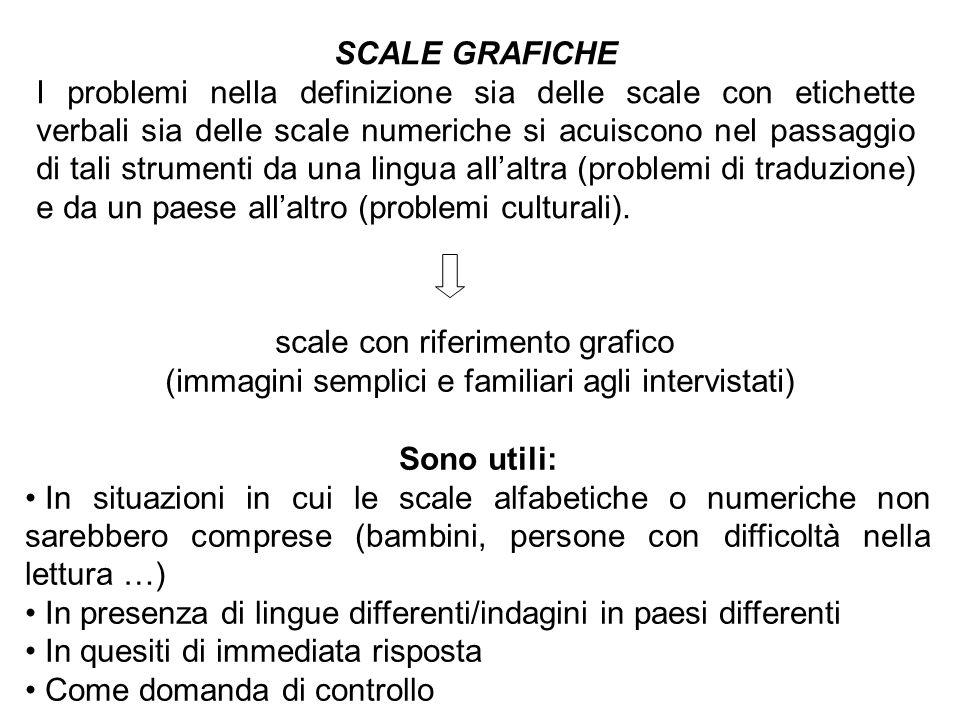 SCALE GRAFICHE I problemi nella definizione sia delle scale con etichette verbali sia delle scale numeriche si acuiscono nel passaggio di tali strumen