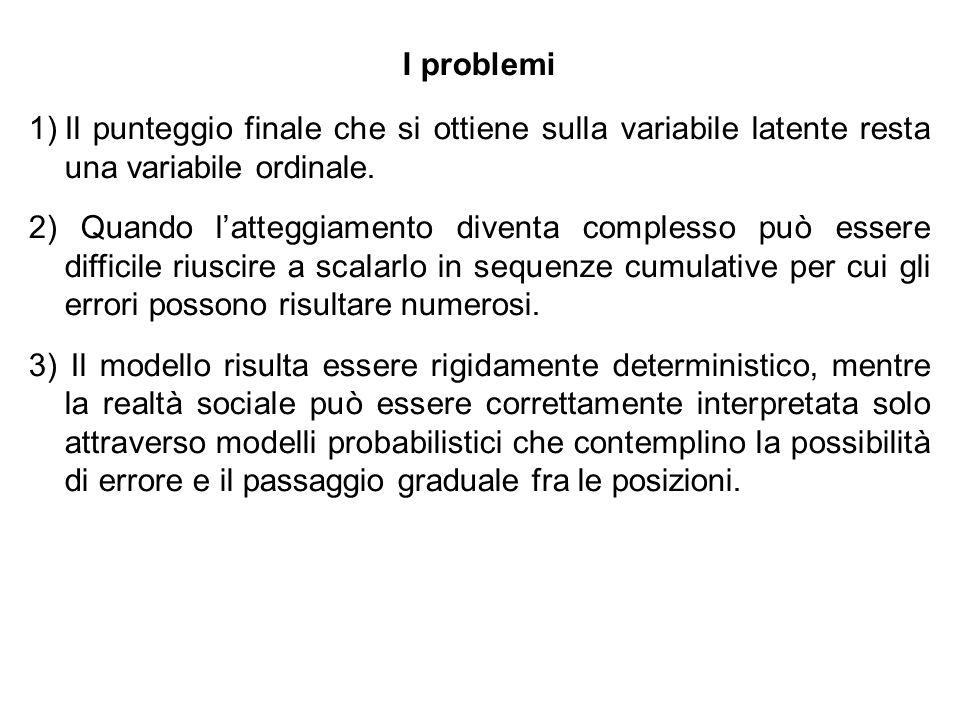 I problemi 1)Il punteggio finale che si ottiene sulla variabile latente resta una variabile ordinale. 2) Quando latteggiamento diventa complesso può e