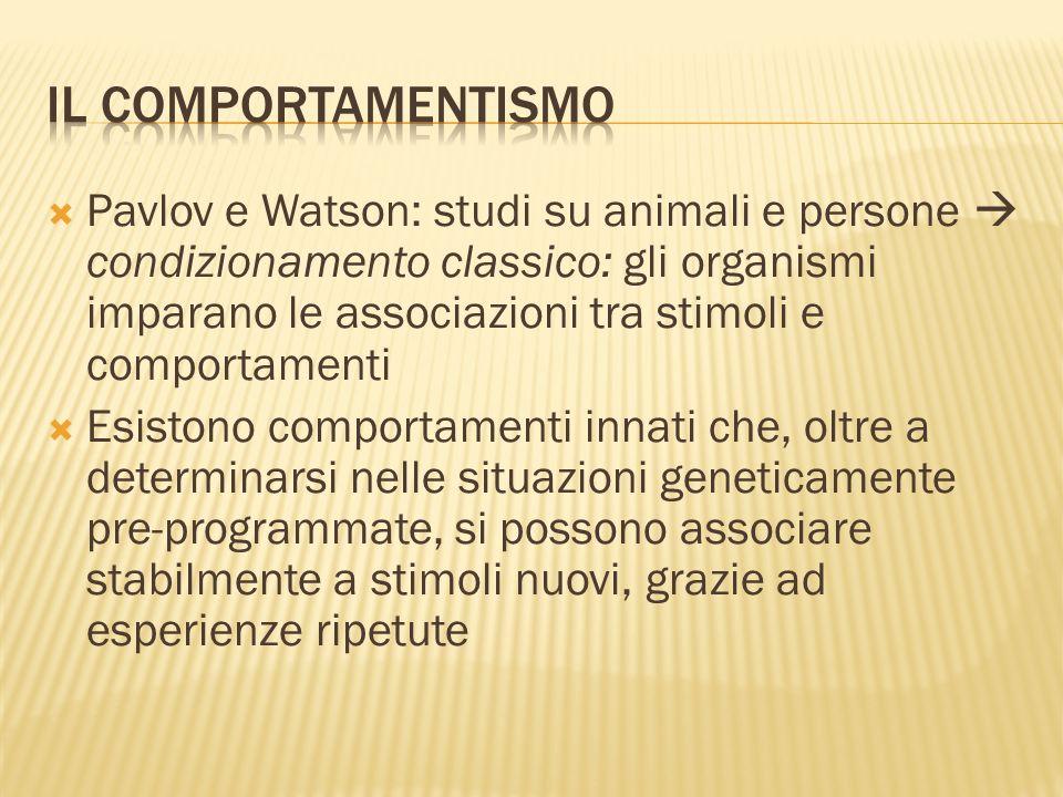 Pavlov e Watson: studi su animali e persone condizionamento classico: gli organismi imparano le associazioni tra stimoli e comportamenti Esistono comp