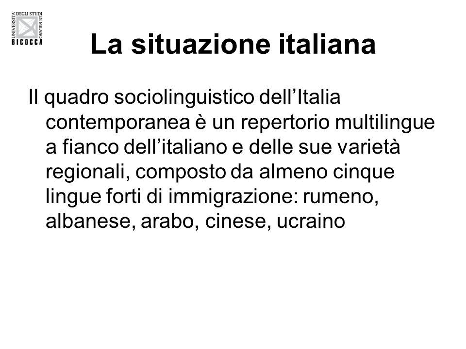 La situazione italiana Il quadro sociolinguistico dellItalia contemporanea è un repertorio multilingue a fianco dellitaliano e delle sue varietà regionali, composto da almeno cinque lingue forti di immigrazione: rumeno, albanese, arabo, cinese, ucraino