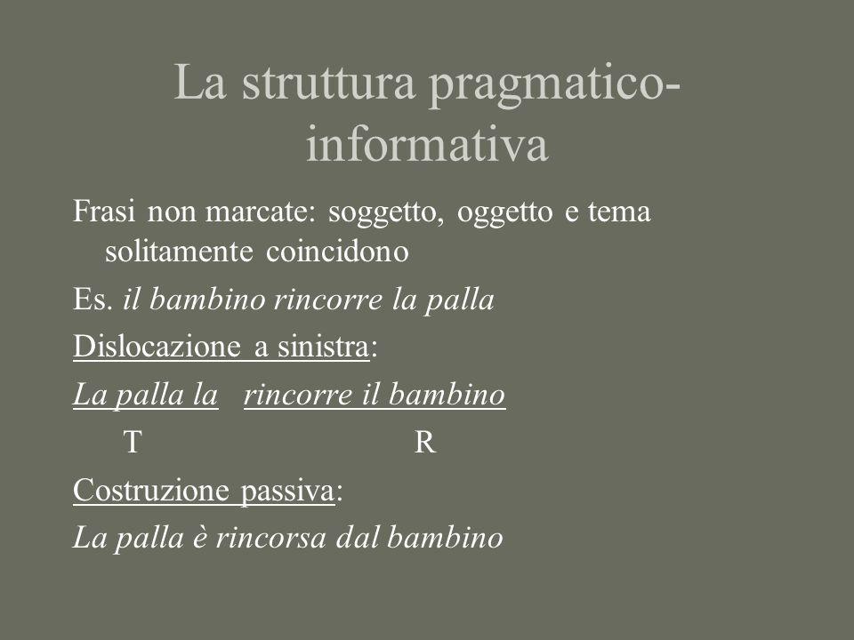 La struttura pragmatico- informativa Frasi non marcate: soggetto, oggetto e tema solitamente coincidono Es.