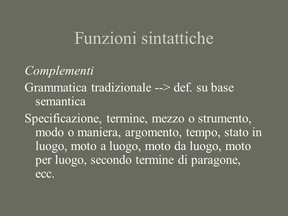 Lanalisi sintattica -struttura in costituenti -funzioni sintattiche -ruoli semantici -Prospettiva pragmatico-informativa