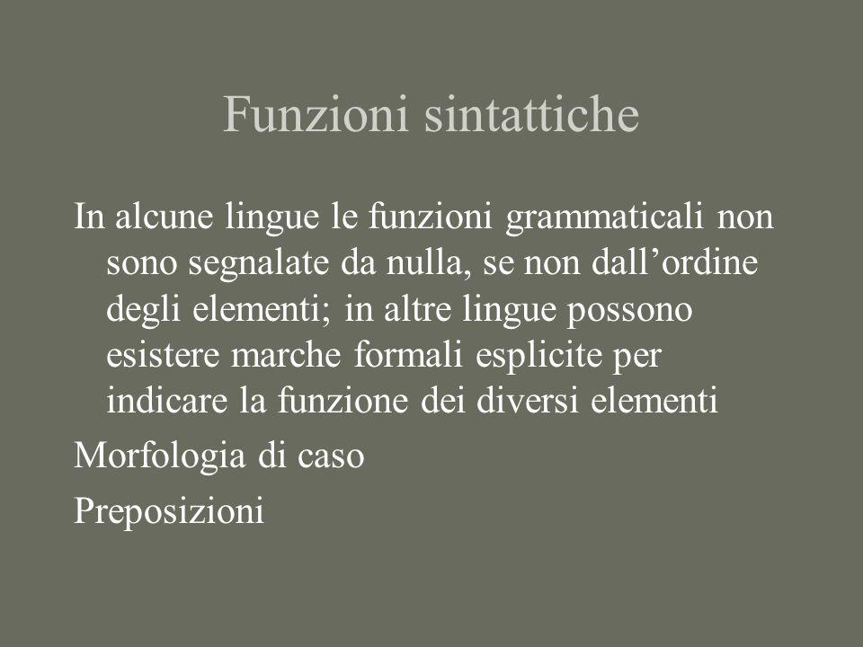 Funzioni sintattiche In alcune lingue le funzioni grammaticali non sono segnalate da nulla, se non dallordine degli elementi; in altre lingue possono esistere marche formali esplicite per indicare la funzione dei diversi elementi Morfologia di caso Preposizioni