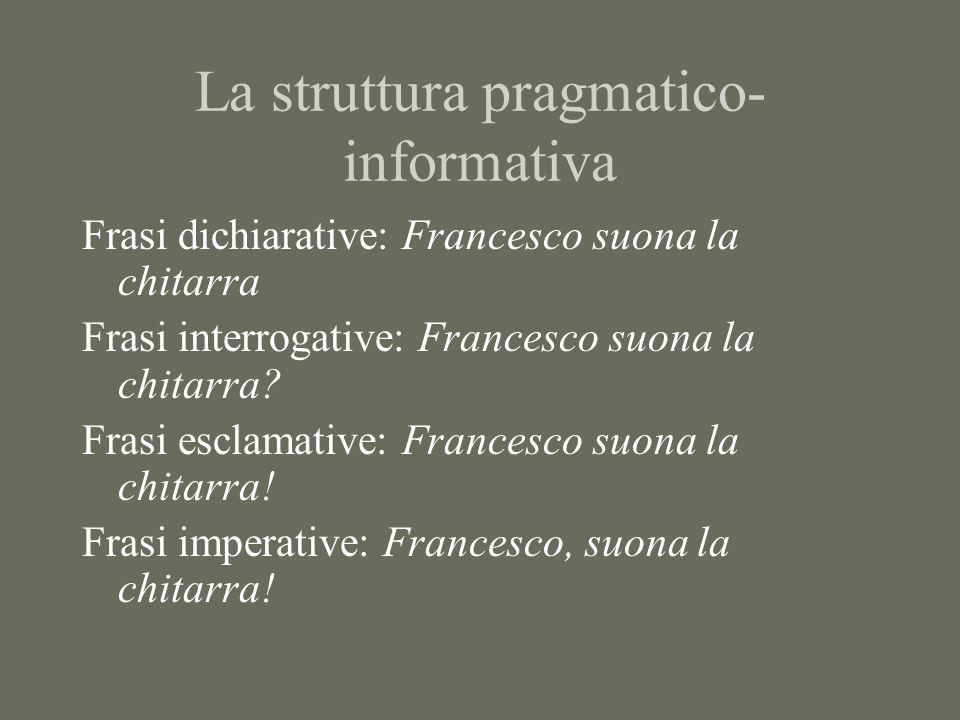 La struttura pragmatico- informativa Definizione funzionale di lingua: strumento comunicativo che permette di dire qualcosa di qualcuno o qualcosa Tema/rema (p.d.v.