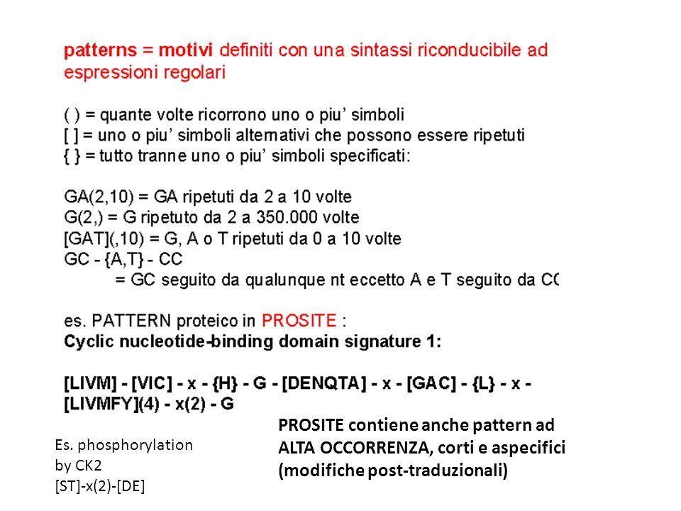 PROSITE contiene anche pattern ad ALTA OCCORRENZA, corti e aspecifici (modifiche post-traduzionali) Es. phosphorylation by CK2 [ST]-x(2)-[DE]