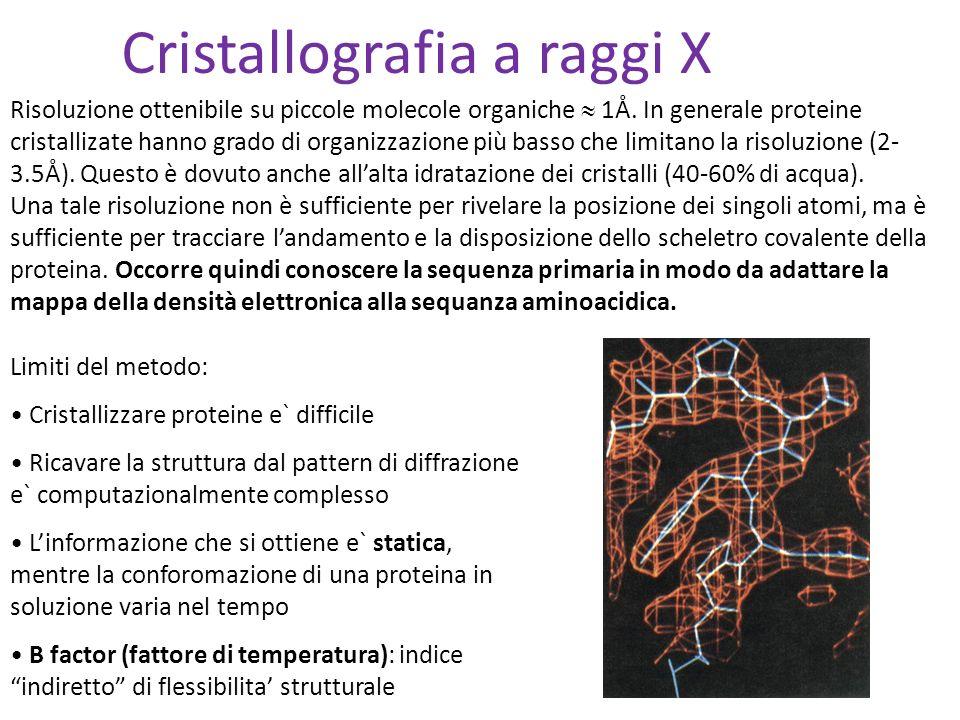 Limiti del metodo: Cristallizzare proteine e` difficile Ricavare la struttura dal pattern di diffrazione e` computazionalmente complesso Linformazione