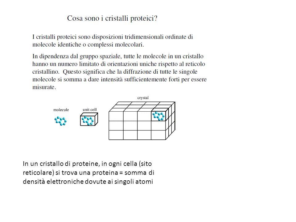 In un cristallo di proteine, in ogni cella (sito reticolare) si trova una proteina = somma di densità elettroniche dovute ai singoli atomi