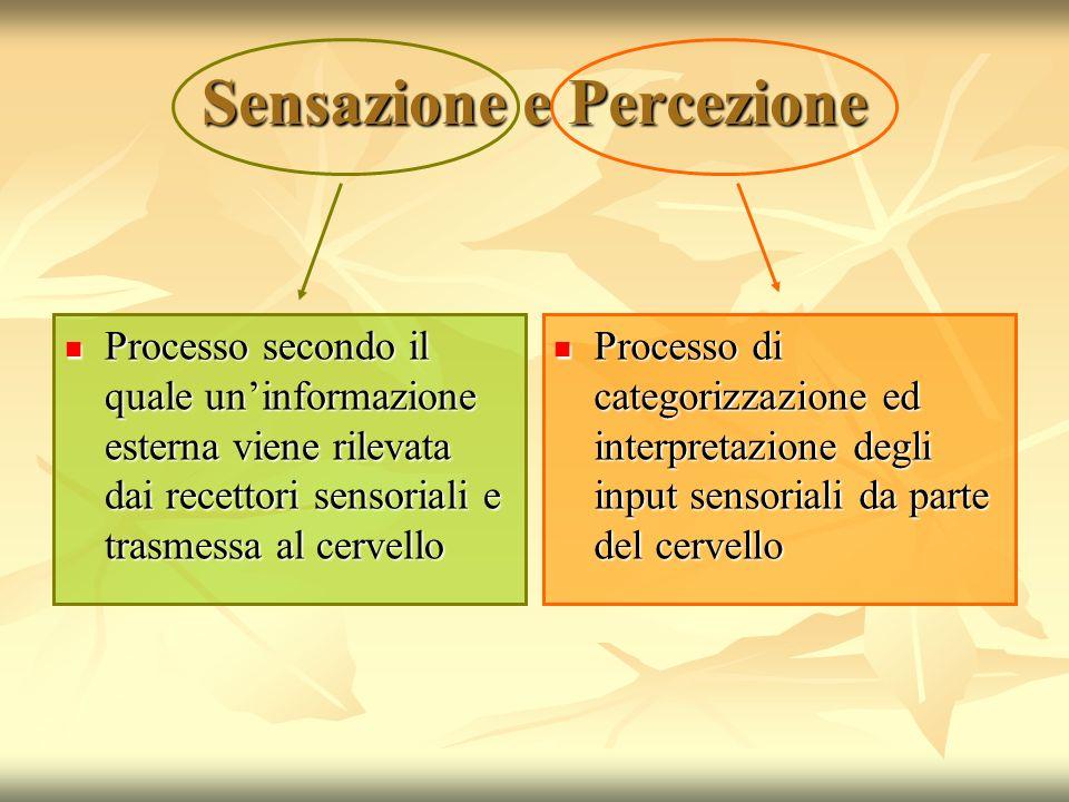 Sensazione e Percezione Processo secondo il quale uninformazione esterna viene rilevata dai recettori sensoriali e trasmessa al cervello Processo seco
