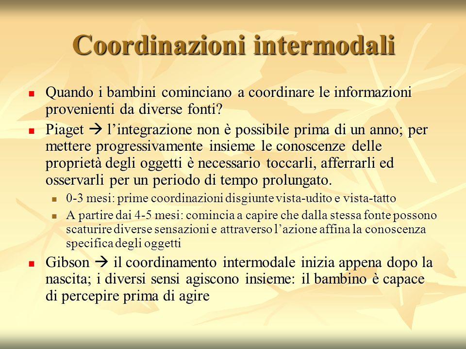 Coordinazioni intermodali Quando i bambini cominciano a coordinare le informazioni provenienti da diverse fonti? Quando i bambini cominciano a coordin