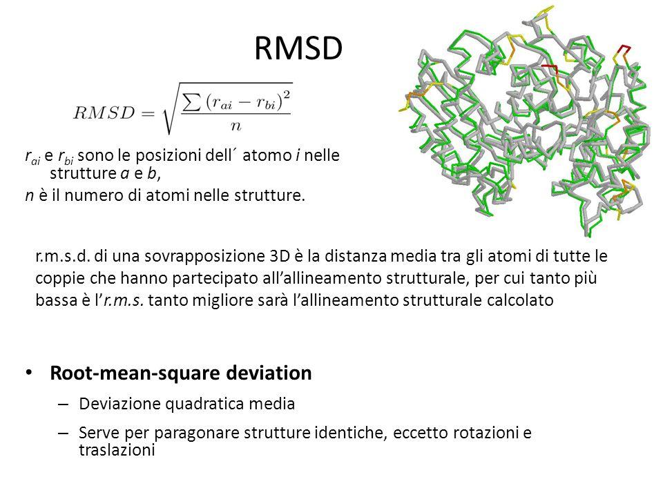 RMSD Root-mean-square deviation – Deviazione quadratica media – Serve per paragonare strutture identiche, eccetto rotazioni e traslazioni r ai e r bi sono le posizioni dell´ atomo i nelle strutture a e b, n è il numero di atomi nelle strutture.