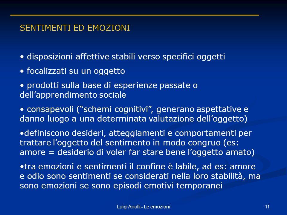 11Luigi Anolli - Le emozioni SENTIMENTI ED EMOZIONI disposizioni affettive stabili verso specifici oggetti focalizzati su un oggetto prodotti sulla ba
