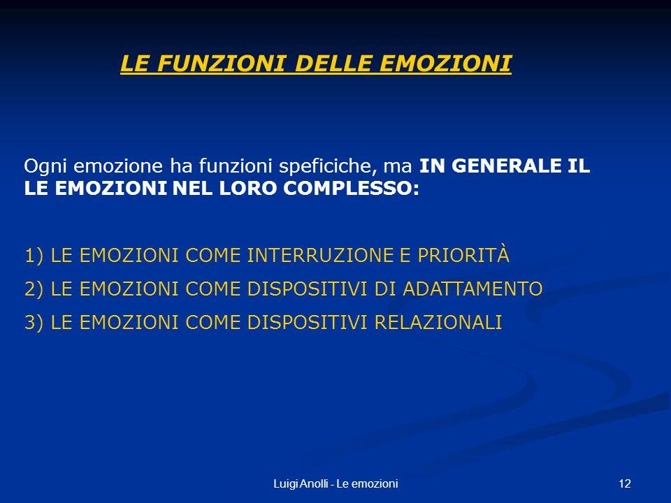 12Luigi Anolli - Le emozioni LE FUNZIONI DELLE EMOZIONI Ogni emozione ha funzioni speficiche, ma IN GENERALE IL LE EMOZIONI NEL LORO COMPLESSO: 1) LE
