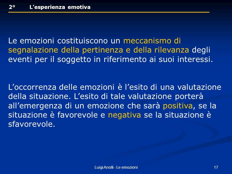 17Luigi Anolli - Le emozioni 2° Lesperienza emotiva 2° Lesperienza emotiva Le emozioni costituiscono un meccanismo di segnalazione della pertinenza e