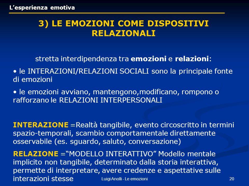 20Luigi Anolli - Le emozioni Lesperienza emotiva Lesperienza emotiva 3) LE EMOZIONI COME DISPOSITIVI RELAZIONALI stretta interdipendenza tra emozioni