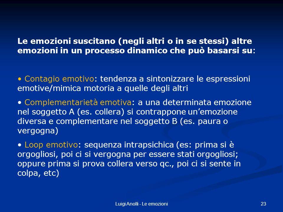 23Luigi Anolli - Le emozioni Le emozioni suscitano (negli altri o in se stessi) altre emozioni in un processo dinamico che può basarsi su: Contagio em