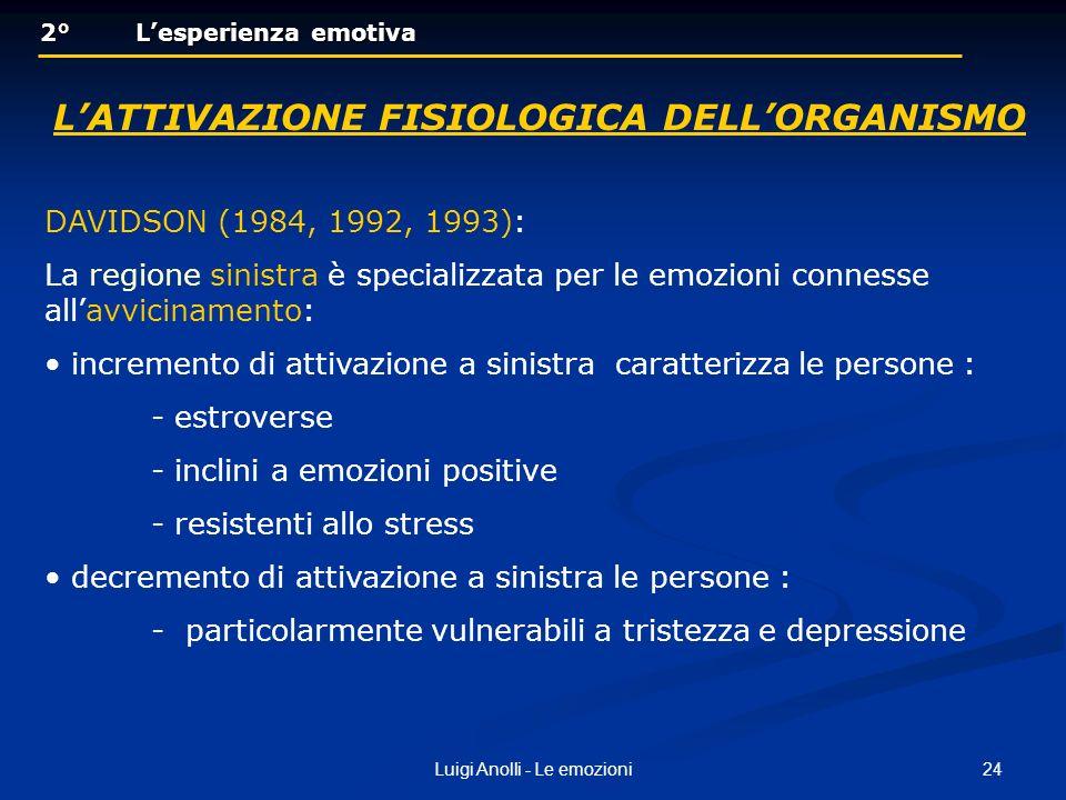 24Luigi Anolli - Le emozioni 2° Lesperienza emotiva 2° Lesperienza emotiva LATTIVAZIONE FISIOLOGICA DELLORGANISMO DAVIDSON (1984, 1992, 1993): La regi