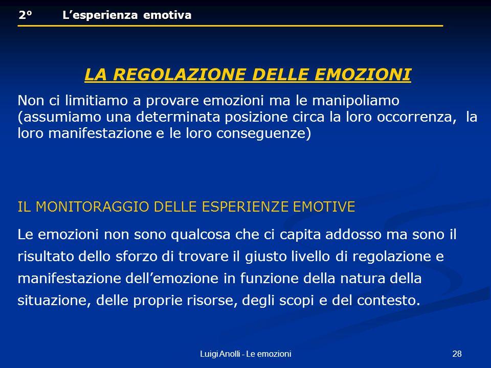 28Luigi Anolli - Le emozioni 2° Lesperienza emotiva 2° Lesperienza emotiva LA REGOLAZIONE DELLE EMOZIONI Non ci limitiamo a provare emozioni ma le man