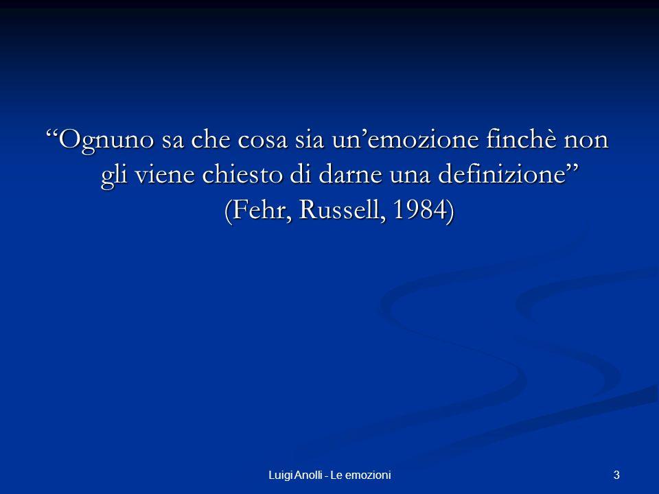 3Luigi Anolli - Le emozioni Ognuno sa che cosa sia unemozione finchè non gli viene chiesto di darne una definizione (Fehr, Russell, 1984)