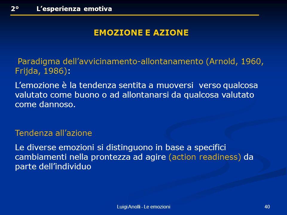 40Luigi Anolli - Le emozioni 2° Lesperienza emotiva 2° Lesperienza emotiva EMOZIONE E AZIONE Paradigma dellavvicinamento-allontanamento (Arnold, 1960,