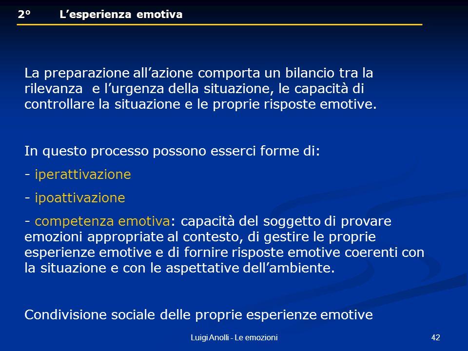 42Luigi Anolli - Le emozioni 2° Lesperienza emotiva 2° Lesperienza emotiva La preparazione allazione comporta un bilancio tra la rilevanza e lurgenza