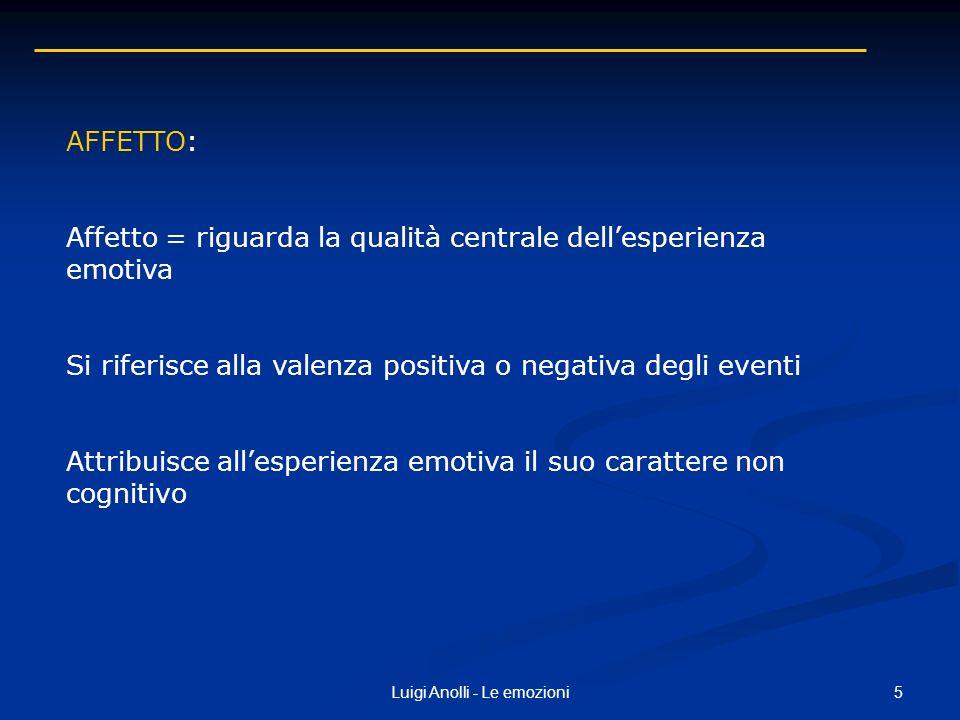 5Luigi Anolli - Le emozioni AFFETTO: Affetto = riguarda la qualità centrale dellesperienza emotiva Si riferisce alla valenza positiva o negativa degli