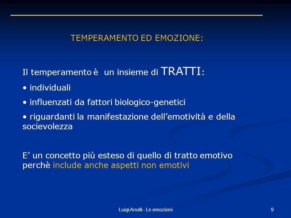9Luigi Anolli - Le emozioni TEMPERAMENTO ED EMOZIONE: Il temperamento è un insieme di TRATTI : individuali influenzati da fattori biologico-genetici r