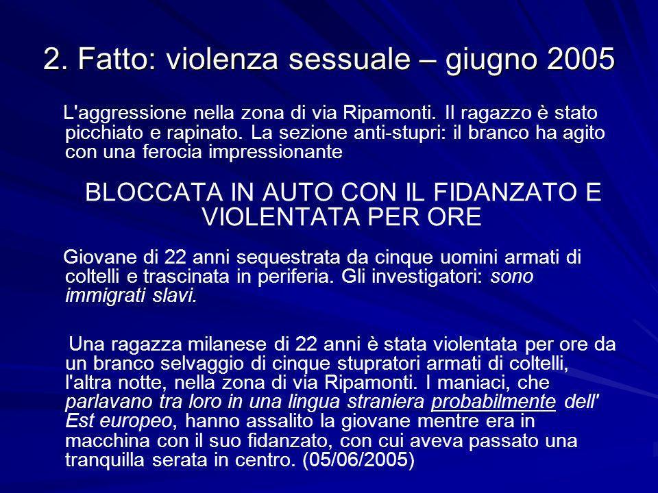 2. Fatto: violenza sessuale – giugno 2005 L aggressione nella zona di via Ripamonti.