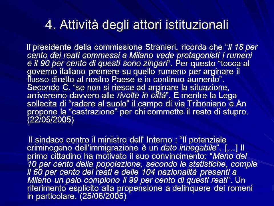 4. Attività degli attori istituzionali Il presidente della commissione Stranieri, ricorda che il 18 per cento dei reati commessi a Milano vede protago
