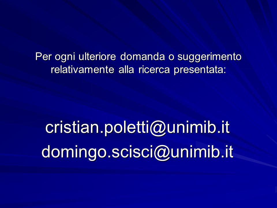 Per ogni ulteriore domanda o suggerimento relativamente alla ricerca presentata: cristian.poletti@unimib.itdomingo.scisci@unimib.it