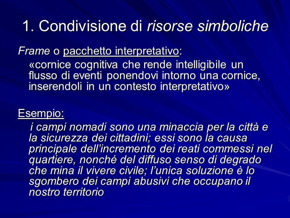 1. Condivisione di risorse simboliche Frame o pacchetto interpretativo: «cornice cognitiva che rende intelligibile un flusso di eventi ponendovi intor