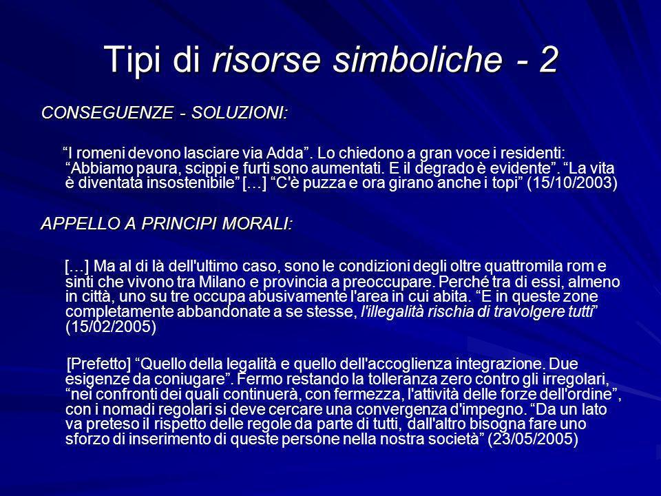 Tipi di risorse simboliche - 2 CONSEGUENZE - SOLUZIONI: I romeni devono lasciare via Adda.