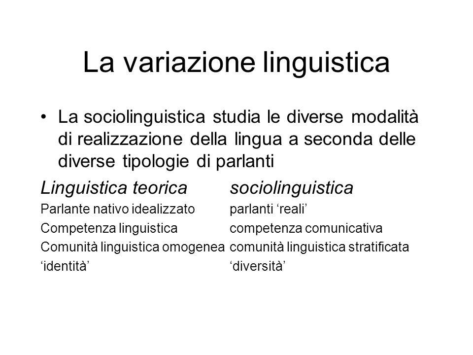 La variazione linguistica Comunità linguistica: insieme delle persone che parlano una determinata lingua Stratificata, non omogenea Repertorio linguistico: insieme dei codici e delle varietà che un parlante è in grado di padroneggiare allinterno del repertorio linguistico più ampio della comunità cui appartiene