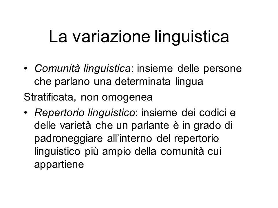 La variazione linguistica Comunità linguistica: insieme delle persone che parlano una determinata lingua Stratificata, non omogenea Repertorio linguis