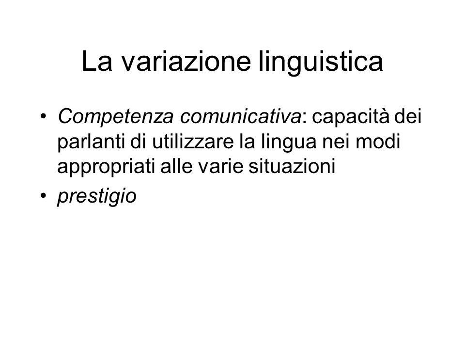 La variazione linguistica Lingue speciali Socioletto Idioletto Lingue settoriali I gerghi