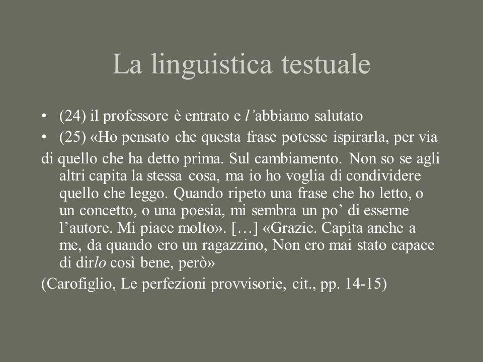 La linguistica testuale (24) il professore è entrato e labbiamo salutato (25) «Ho pensato che questa frase potesse ispirarla, per via di quello che ha